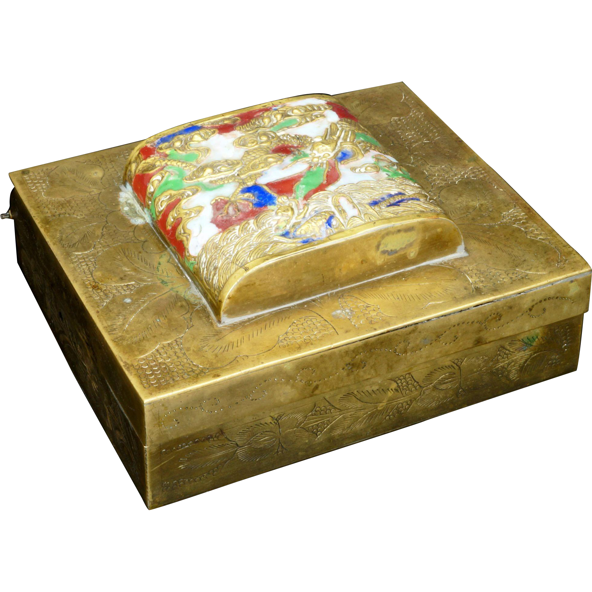 Chinese brass lidded box with enameled design of a dragon in the clouds circa 1900