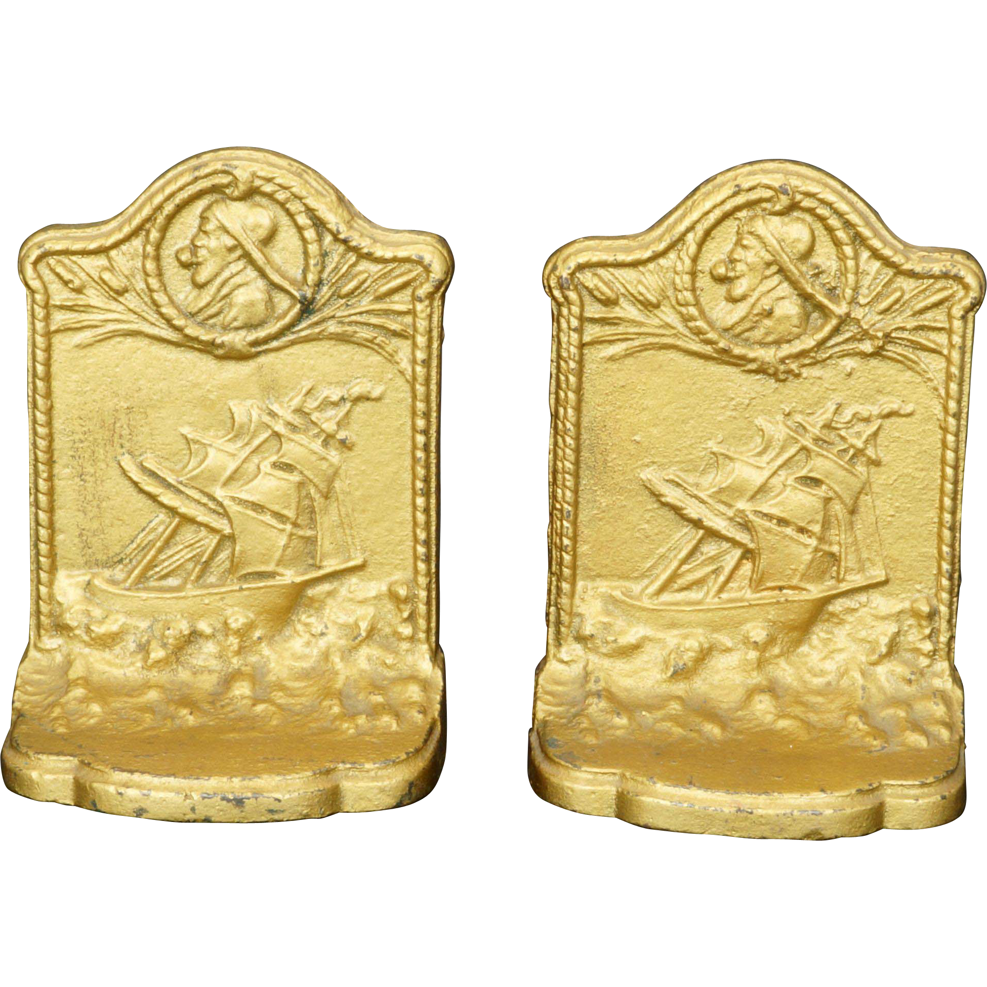 Ship and Mariner iron bookends by Bradley and Hubbard circa 1925