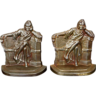 Dante iron bookends by Connecticut Foundry 1930
