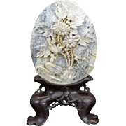 Chinese soapstone carved panel on stand with a flower and bird design