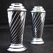 Pair of English chrome art deco vases circa 1930