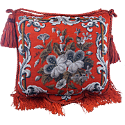 Beaded decorative red hanging pillow with fringe and tassel early 20th Century