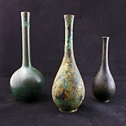 Set of 3 Patinated Japanese Bronze Bottle Form Vases Early 20th Century