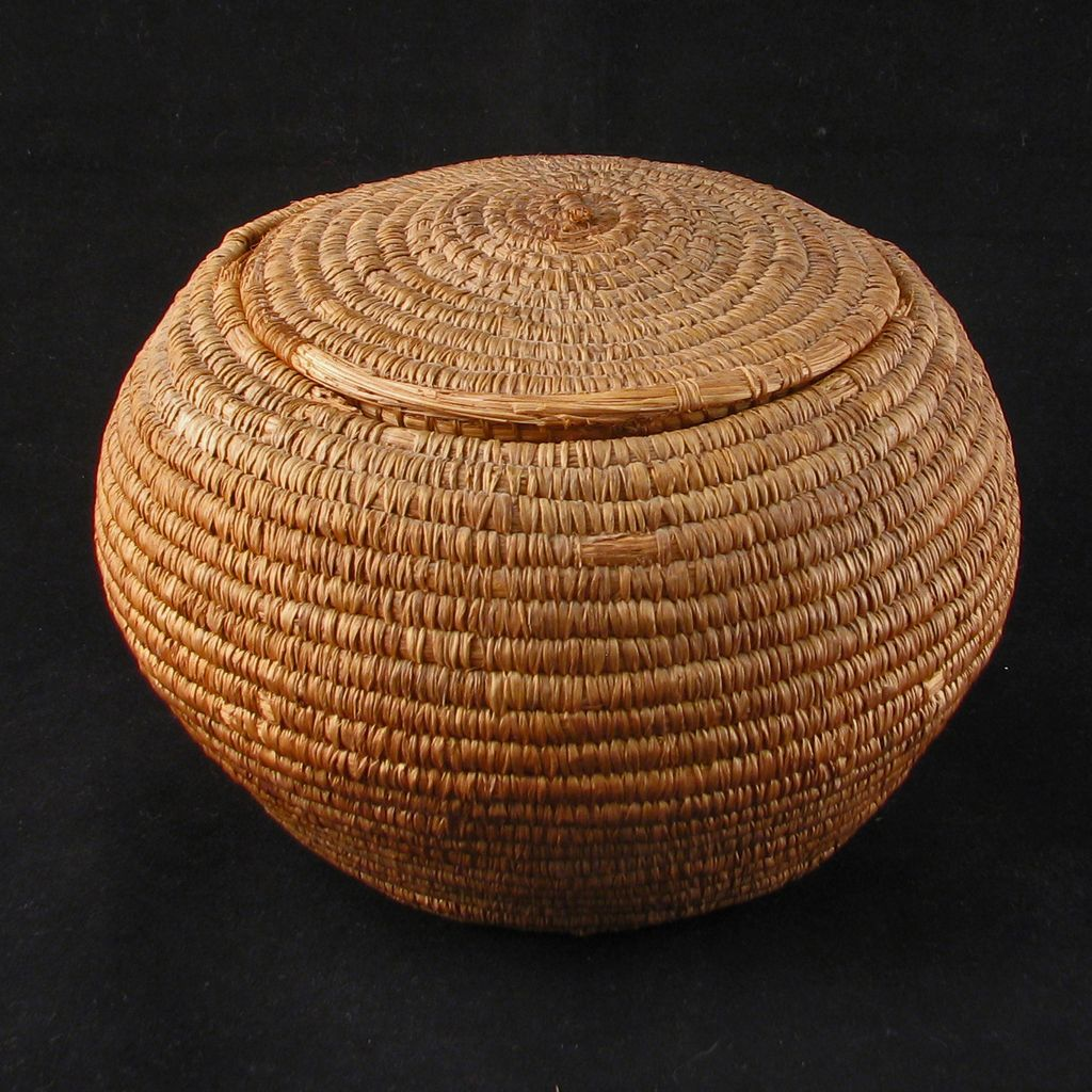 Round Sweet Grass Coastal Salish Indian Basket With Matching Lid Circa Sold Ruby Lane Wicker