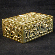 Republic-Period Chinese Sandalwood Lined Brass Box with Nine Dragons