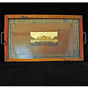 Wood folk art tray with intricate marquetry design of a monument