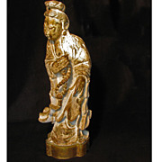 Large Vintage Wood Gessoed and Gilded Chinese Guan Yin Carving
