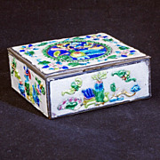 Colorful 1930's Chinese brass box with over enameling of scholars objects and auspicious and lucky symbols