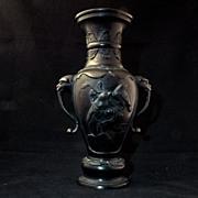 Large Meiji patinated Japanese bronze vase c 1900