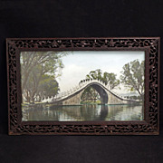 Circa 1900 Chinese handcarved hardwood frame with picture of a moon bridge