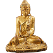 Thai carved and gilded seated Buddha statue with glass jewels 20th century