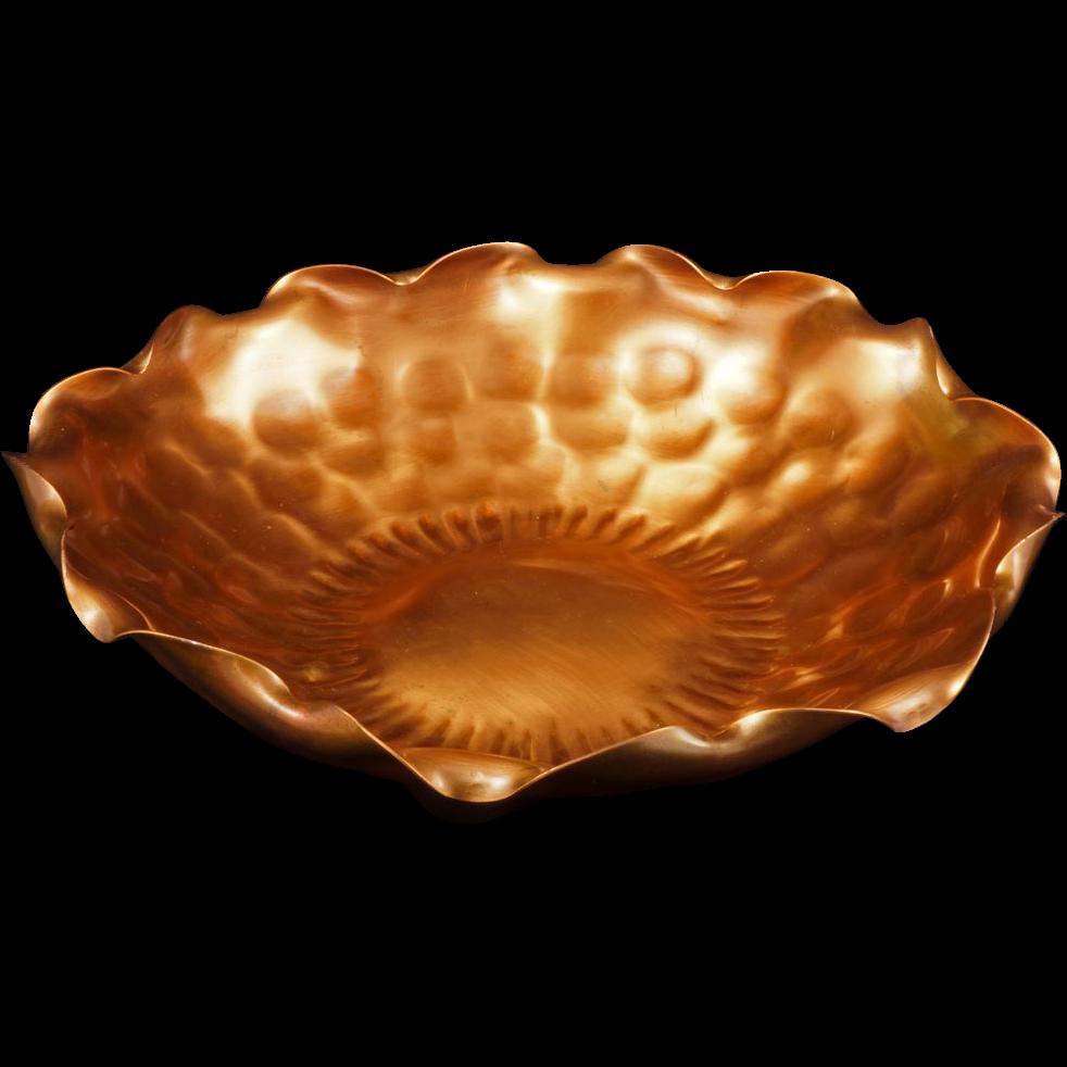 gregorian hand u2013 hammered copper bowl with ruffled rim 310