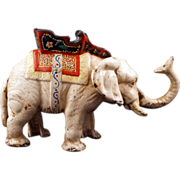 Large Antique hand painted cast iron mechanical bank in the shape of an elephant late 19th C