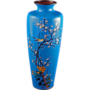 Japanese tall blue cloisonné vase with bird in tree design early 20th century