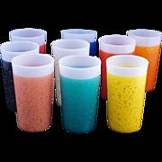 Set of 9 Vintage multicolor Mid-century stardust plastic-coated tumblers c1950s