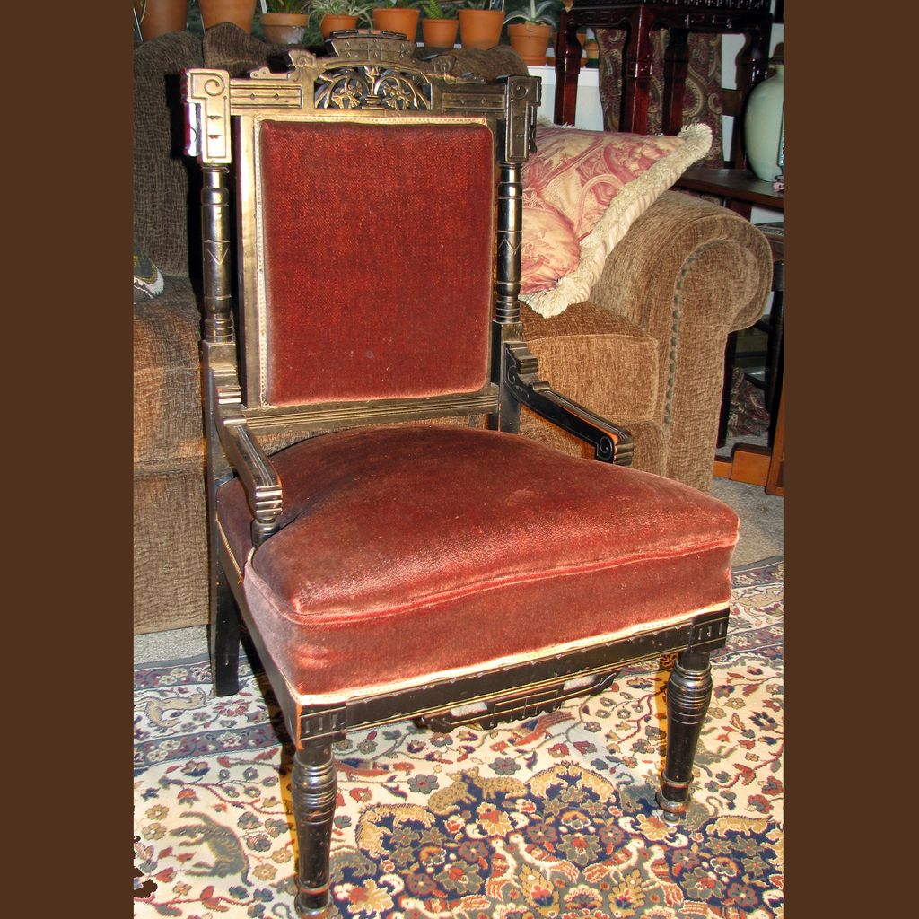 Antique Ebonized Aesthetic Eastlake Movement Side Chair : Bear & Raven |  Ruby Lane - Antique Ebonized Aesthetic Eastlake Movement Side Chair : Bear
