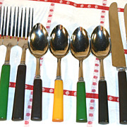 Multi-Colored Bakelite Flatware Service for Four