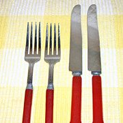Cherry Red Bakelite Flatware Service for Two