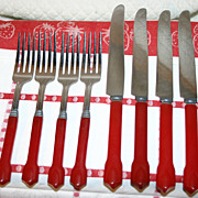 Cherry Red Bakelite Flatware Service for Four