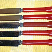 Cherry Red Bakelite Set of Five Knives