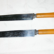 Butterscotch Yellow Bakelite Set of Two Knives