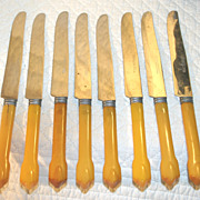 Butterscotch Yellow Bakelite Flatware Set of 8 Knives