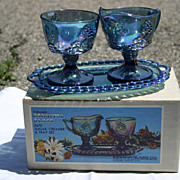 Vintage Blue Carnival Glass: Cream and Sugar Set with Tray