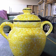 Yellow Stangl Town & Country Bean Pot or Cookie Jar with Lid