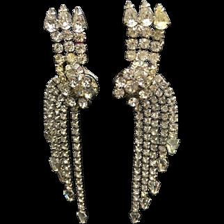 """Rhinestone vintage earrings long 4 1/2""""  shoulder dusters"""