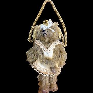 Teddy bear purse handmade by Letty Worley bear artist