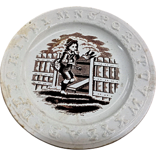 ABC plate Brown transfer ware boy by gate with bird