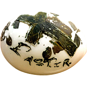 Vintage milk glass Easter Egg with cross