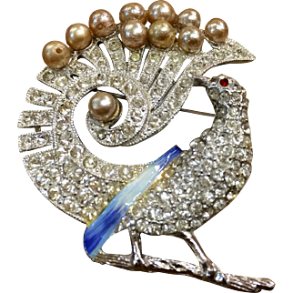 Peacock brooch pave rhinestones, faux pearls, enameled