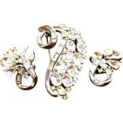 Trifari  rhinestone brooch and earring set