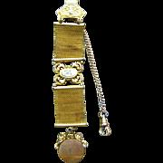 Victorian gentleman's watch fob chain locket brass