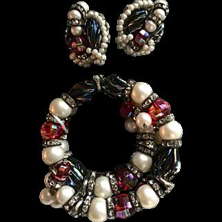 Hobe cherry, black , faux pearls, etc. memory bracelet and earrings