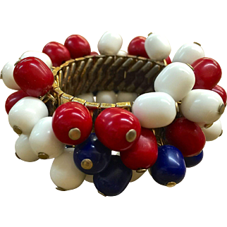 Red white and blue Patriotic bead expansion bracelet