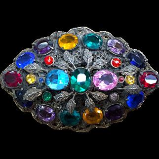 Czechoslovakia multicolor open back stones oval brooch