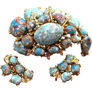 Har Dinosaur egg stone brooch and earring set