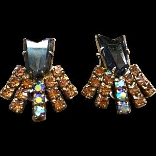 Juliana D & E arrow stone clip back earrings