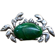 Mexico Sterling Crab with green onyx body