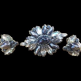 Weiss brooch and earrings smokey grey hematite