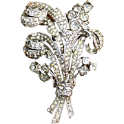 Crown Trifari rhinestone bouquet fur clip