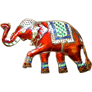 Sterling enameled colorful elephant brooch pin