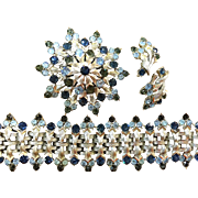 Coro blue rhinestone silver tone bracelet, earrings and brooch
