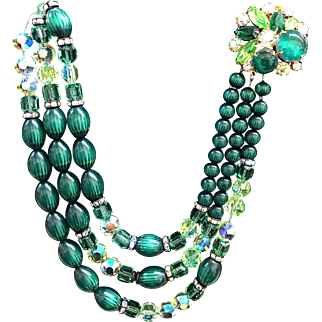 Hobe green melon bead 3 strand necklace with gorgeous clasp