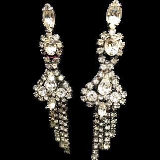 """Rhinestone vintage long shoulder duster earrings 4"""""""