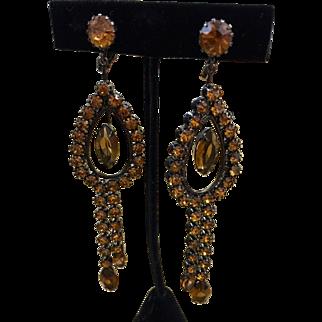 "Amber colored rhinestones japanned 5"" shoulder duster earrings"