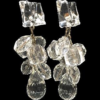 "Unusual large 4"" lucite shoulder duster clip earrings winter wedding"