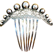 "Sterling 5"" Victorian hair comb"